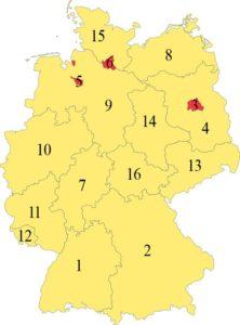 Deutsche Bundesländer nummeriert
